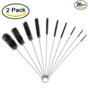 AOBOR 20cm Nylon Tube Brush Set - 2 Pack Cleaning Brushes Nylon Tube Brushes 20 pieces for Drinking Straws Glasses Keyboards Jewellery Cleaning