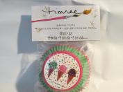Timree Baking Cups - 50 per pkg - Green w/ Pink Edge