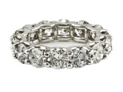 8.00ct Floating Round Diamond in 14K White Gold Eternity Band Ring - Size 7.25