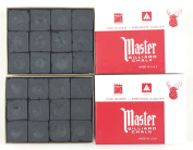 Made in the USA - 2 Boxes of Master Chalk - 24 Pieces for Pool Cues and Billiards Sticks Tips