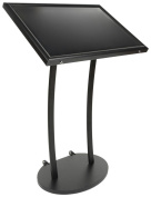 Displays2go Magnetic Menu Display Stand, Includes Magnets, Wheels, Outdoor, Black