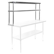 Gridmann NSF Stainless Steel Commercial Kitchen Prep & Work Table 2 Tier Double Overshelf - 150cm . x 30cm .
