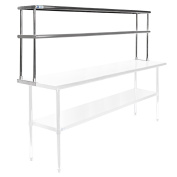 Gridmann NSF Stainless Steel Commercial Kitchen Prep & Work Table 2 Tier Double Overshelf - 180cm . x 30cm .
