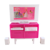 Plastic Pink Toy LCD TV For Barbie Dolls Dollhouse Furniture
