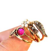 Vintage Style Rhinestone Wings Flower Swallow Bowknot 5pcs Ring Set Rings