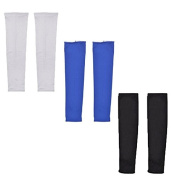 Mr Jiff,3 Pairs black, white and blue ,UV Protection Cooler Arm Sleeves for Bike Cycling/Hiking/Golf