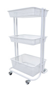 Mobile 3 Tiered Baby/Toy Nursery Storage Cart - White