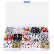 Tinksky Mixed Acrylic Alphabet Letters Beads Cube Charms for DIY Loom Bands Bracelets