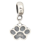 Hoobeads 925 Sterling Silver Puppy Dog Paw Dangle Charms Fits Pandora Charms Bracelets
