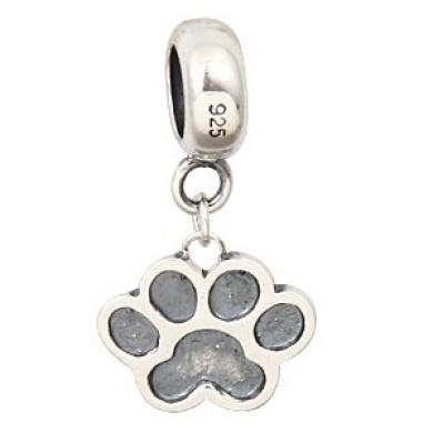 Hoobeads 925 Sterling Silver Puppy Dog Paw Dangle Charms Fits Pandora Charms Bracelets