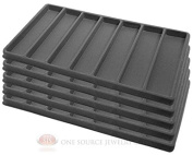 5 Grey Insert Tray Liners W/ 7 Slot Each Drawer Organiser Jewellery Displays