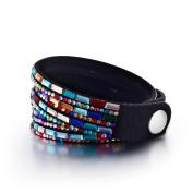 Yoshine® Fashion Leather Rhinestone Multilayer Bracelet Bangle,novelty Wrap Bracelets, Punk Folk Style Retro Bracelets,wide Leather Casual Adjustable Bracelet