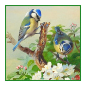 Bluetits and Blossoms By Archibald Thorburn Counted Cross Stitch Pattern