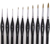 Best Professional Siberian Kolinsky Sable Detail Paint Brush, Value Set of 10, High Quality Miniature Brushes Will Keep a Fine Point and Spring, For Watercolour, Oil, Acrylic, Nail Art & Models