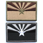 Bundle 2 pieces - Tactical Arizona state flag Patch with hook and loop backing Multi-tan & Black white Decorative Embroidered Badge appliques 5.1cm high by 8.1cm wide