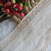 Beige 3 Yards 10cm Wide Rayon Embroidered Cotton Lace Dress Lace Trim Fabric Ribbon Curtain Accessory Craft Lace