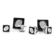 Black & Silver Tone Square Cufflinks & Stud Set
