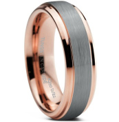 King Will Unisex Women 6mm 18k Rose Gold Plated Tungsten Carbide Ring Two Tone Wedding Band Size4-15