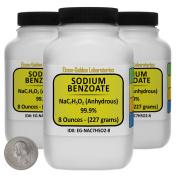 Sodium Benzoate [NaC7H5O2] 99.9% USP Grade Powder 0.7kg in Three Space-Saver Bottles USA