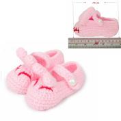 FuzzyGreen® Cute Smiling Rabbits Unisex Baby Newborn Infant Handmade Crochet Knit Toddler Shoes Socks Booties
