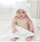 Luxury Soft Organic Bamboo Baby Hooded Towel & Washcloth Gift Set, White Bear, Large Thick Infant & Toddler Sized
