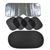 Yosoo 6pcs Folding Set Full Car Front Side Window Sun Shade Car Windshield Visor Cover UV Protection Car Window Film, Black