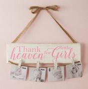 Mud Pie Thank Heaven for Little Girls Photo Holder, White/Pink