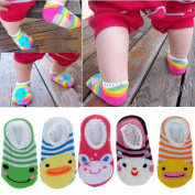 FlyingP 5Pairs Cute Cotton Animal Stripes Baby Socks Toddler Anti Slip Skid Socks For 6-18 Months No-Show Crew Boat Socks