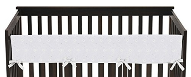 Sweet Jojo Designs White Eyelet Long Front Rail Guard Baby Teething Cover Crib Protector Wrap