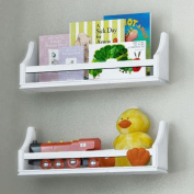 Set of 2 Nursery Room Baby Kids Wall Shelf Sturdy Wood Ships Fully Assembled (Short (50cm ), White