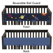 Sweet Jojo Designs Space Galaxy Rocket Ship Galatic Planets Long Front Rail Guard Baby Teething Cover Crib Protector Wrap