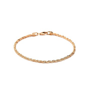 10k Fine Gold Solid Diamond Cut Rope Chain Bracelet and Anklet for Men & Women, 2.5mm