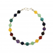 925 Sterling Silver Seven (7) Chakra Natural Healing Gemstone Beads 6 mm Bracelet 7.5 Inches