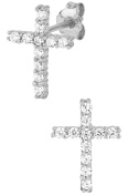 .925 Sterling Silver Channel Set Cubic Zirconia Studded Cross Earrings