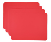 Gasare, Silicone Placemats, Kids Placemats, Non-slip Waterproof, Very Flexible Silicone, Assorted Colours, Size 41cm x 30cm , Set of 4,Red