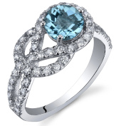 Gracefully Exquisite 1.00 Carats Swiss Blue Topaz Ring in Sterling Silver Rhodium Nickel Finish Sizes 5 to 9