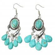 Ginasy Bohemia Spiral Drop Earrings Teardrop Turquoise Plated Alloy Dangle Earrings