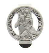 Round St. Saint Christopher Medal Pendant Cut Visor Clip Visor Clips
