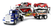 VT Rush Power Max Transporter Semi Trailer Toy Truck Ready To Run w/ 4 Extra Toy Cars