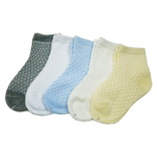 5 Pairs Colourful Newborn Infant Baby Socks Breathable Cotton Mesh Thin Sock Flower Edge Ankle Crew
