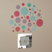 42 Spots Mint Green Red Indoor or Outdoor Wall Art Stickers on a Sheet of A4