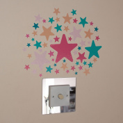 66 Stars Pink Green Yellow Indoor or Outdoor Wall Art Stickers on a Sheet of A4
