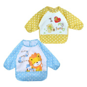 2Pack Infant Toddler Baby Waterproof Sleeved Bib, Blue Lion and Yellow Bear Overcover,6 Months-3Y