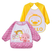 2Pack Infant Toddler Baby Waterproof Sleeved Bib, Pink Rabbit and Yellow Duck Overcover,6 Months-3Y