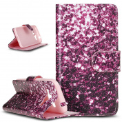 Galaxy Core Prime Case,Galaxy Core Prime Case Wallet,ikasus Beautiful Painted Pattern Flip PU Leather Fold Wallet Pouch Case Premium Leather Wallet Flip Case with Stand Credit Card ID Holders Case Cover for Samsung Galaxy Core Prime G360,Purple Shatter