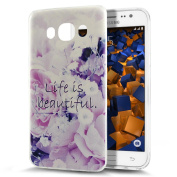 Galaxy J5 2016 Case,ikasus Scratch-Proof Ultra Thin Crystal Clear Rubber Gel TPU Soft Silicone Bumper Case Cover with Shockproof Protective Case for Samsung Galaxy J5 (2016),Purple Flower