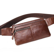 BISON DENIM Brown Genuine Leather Waist Bag Messenger Fanny Pack Bum Bag