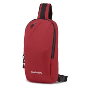 SymbolLife Outdoor Sports Casual Oxford Unbalance Bag Cross body Sling Bag Shoulder Bag Chest Bag for Men and Women, Red