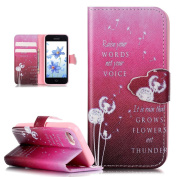 iPhone SE Case,iPhone 5S Case,iPhone 5 Case,ikasus Beautiful Art Painted Pattern Flip PU Leather Fold Wallet Pouch Case Premium Leather Wallet Flip Case with Stand Credit Card ID Holders Case Cover for Apple iPhone SE 2016 & iPhone 5S 5,Pink Dandelion