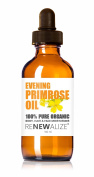 Organic EVENING PRIMROSE OIL by Renewalize in LARGE 100 ml. DARK GLASS BOTTLE with Glass Pipette | Highest Quality , Cold Pressed Unrefined Oil | All Natural Moisturiser for Luxurious Hair , Skin and Nails